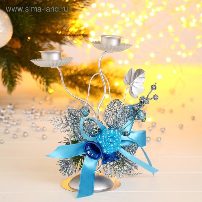"Подсвечник на две свечи ""Голубая лента"""