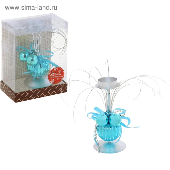 """Подсвечник на одну свечу """"Голубые шарики"""""""