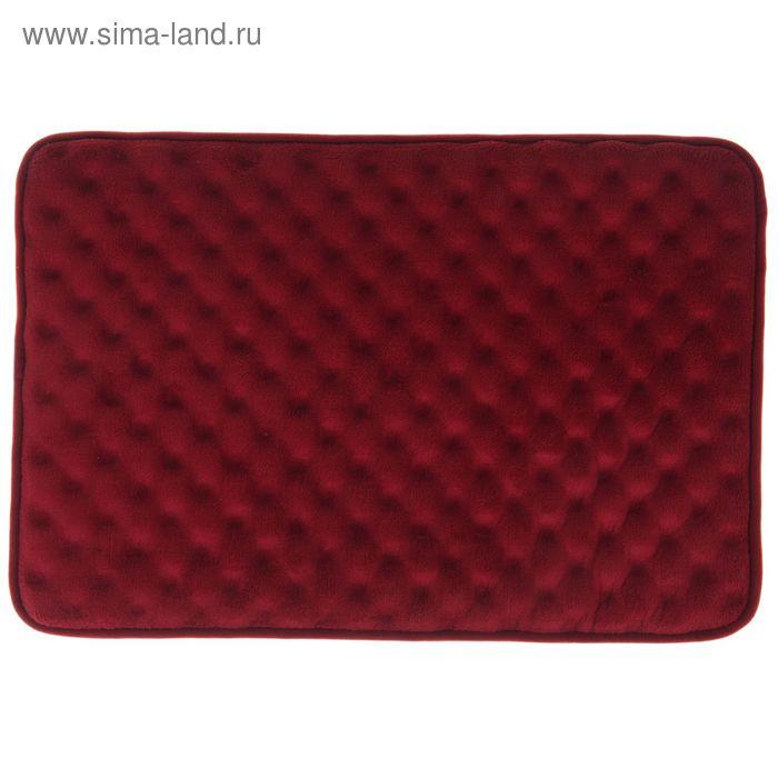Коврик для ванной 40х60 см, толстый 3D, цвет бордовый