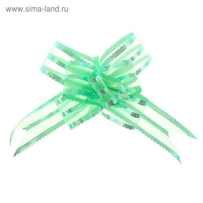 """Бант-бабочка №7 """"Резной"""", цвет зелёный"""