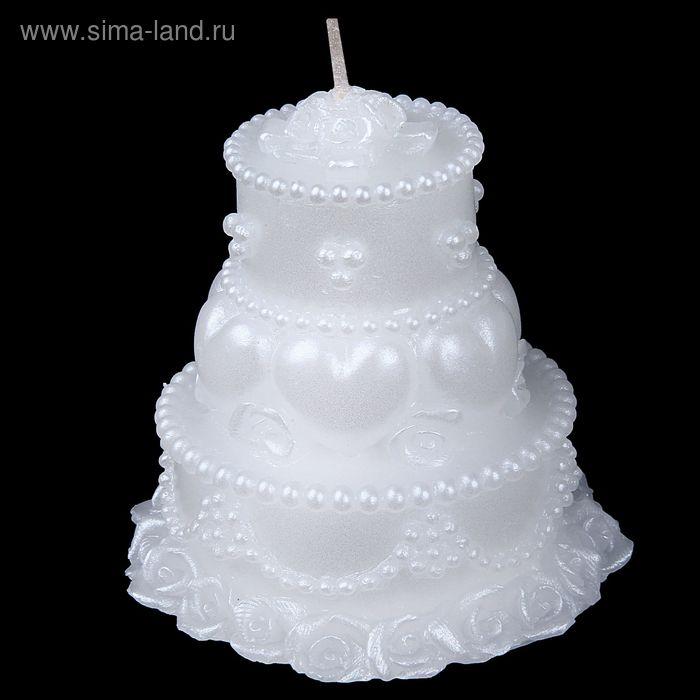 """Свеча восковая """"Свадебный торт"""", цвет белый"""