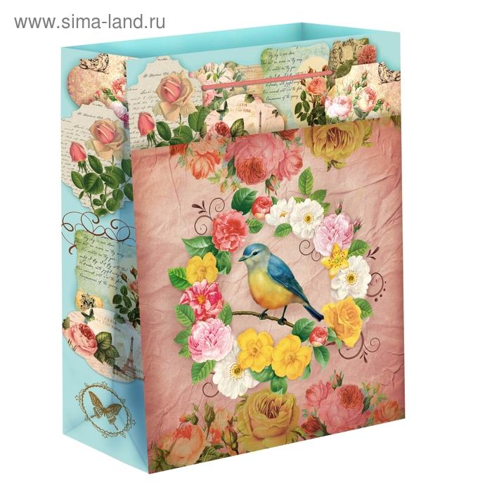 """Пакет подарочный """"Птичка в цветах"""""""