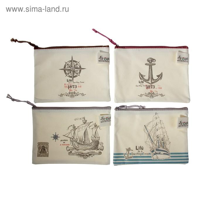 Папка-конверт на молнии формат А6 Морской стиль 17,5*13см МИКС
