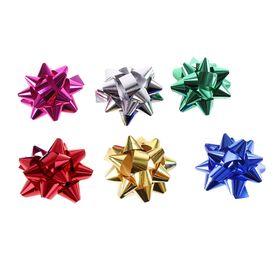 Бант-звезда №7 маталлик (набор 6 шт), цвета ассорти