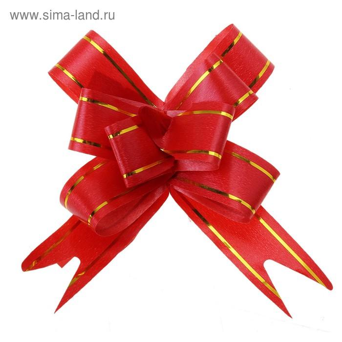 """Бант-бабочка №1,8 """"Золотые полосы"""", цвет красный"""