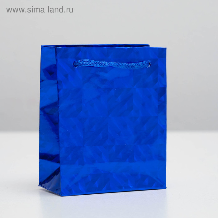 Пакет голографический, синий, рисунок МИКС, 8 х 4 х 10 см