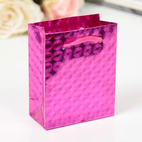 Пакет голографический, цвет розовый, рисунок МИКС, 8 х 4 х 10 см