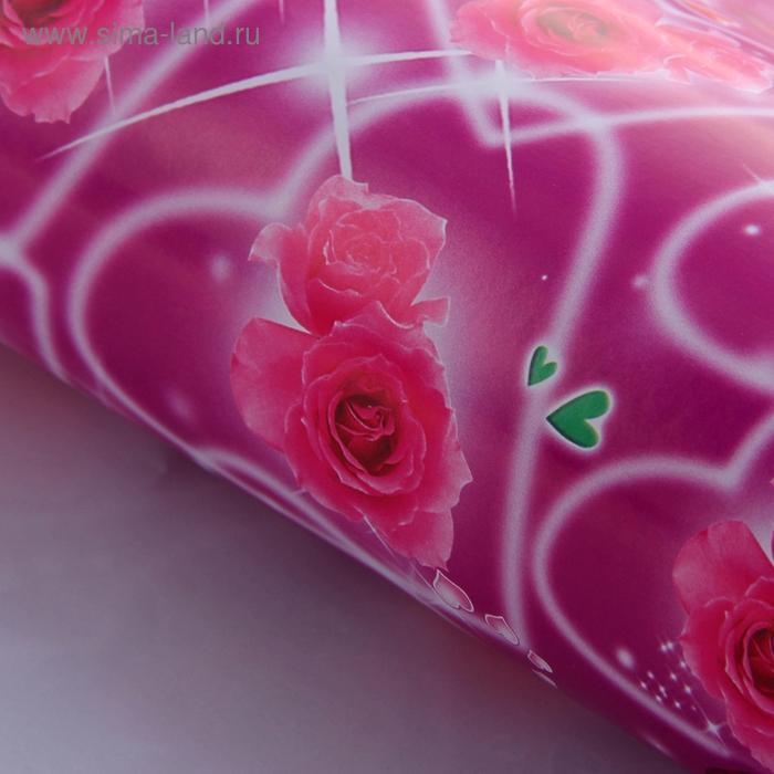 """Бумага упаковочная """"Розы в сердце"""""""