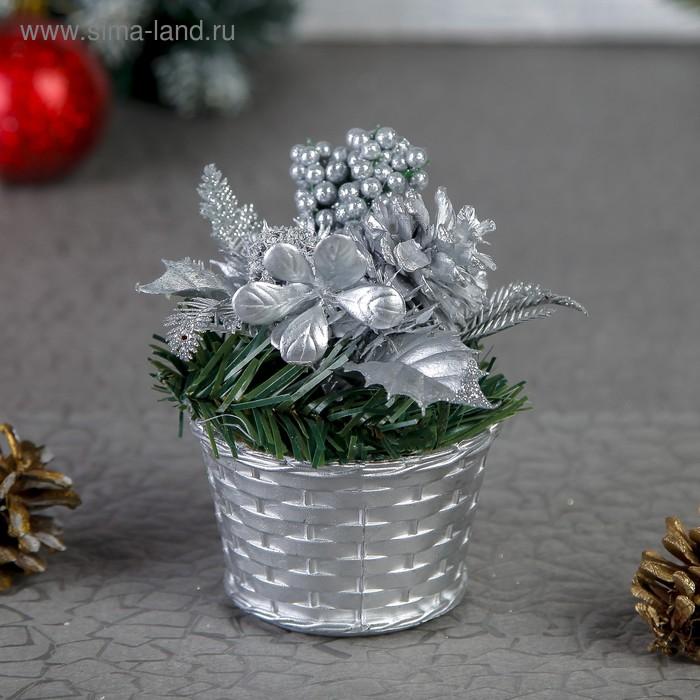 """Композиция новогодняя в горшке """"Зимняя калина"""""""