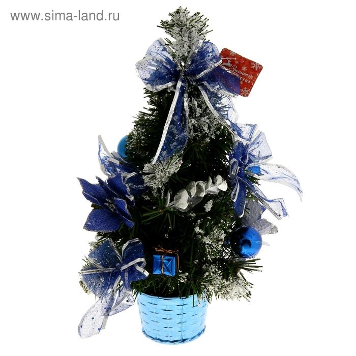 """Ёлка декорированная """"Синяя пуансетия в снегу"""""""