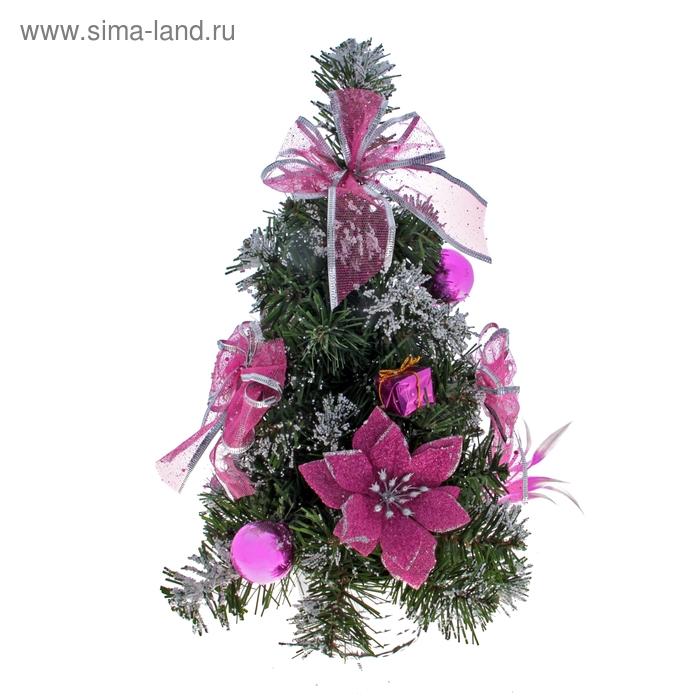 """Ёлка декорированная """"Розовая пуансетия в снегу"""""""