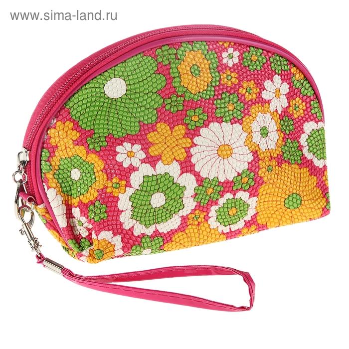 Косметичка-ассорти Floral wave 1 отдел, на молнии, с ручкой, цвет розовый