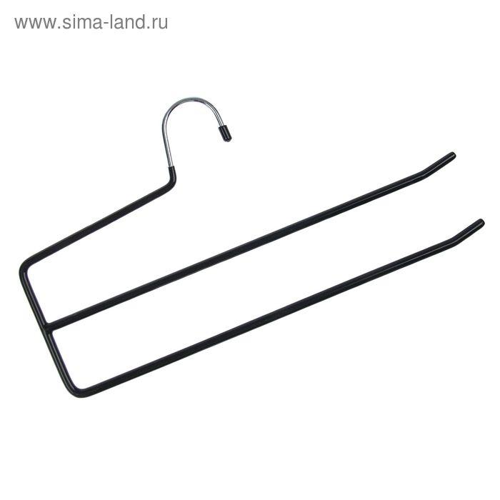 Вешалка-перекладина двухуровневая антискользящая с ПВХ покрытием, цвет МИКС