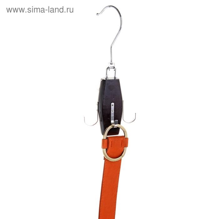 Вешалка для ремней и галстуков, 4 крючка, цвет вишневый