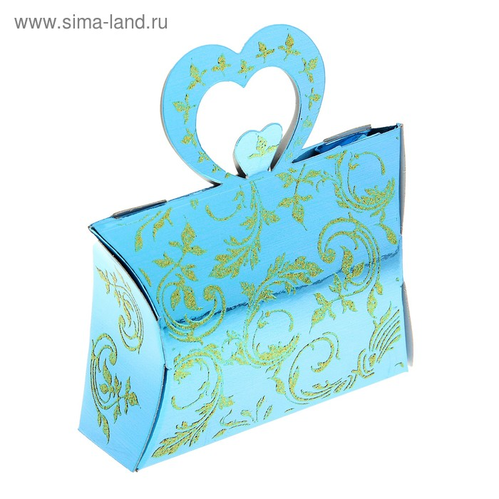 """Коробка сборная """"Двойное сердце"""", цвет голубой"""