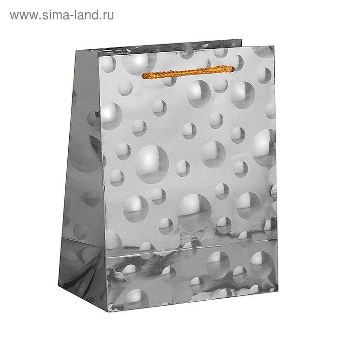 """Пакет голографический """"Шарики"""", цвет серебро"""