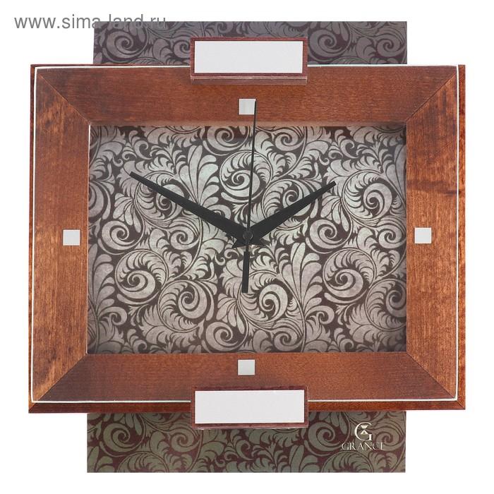 """Часы настенные деревянные """"Grance"""" серебряные узоры"""