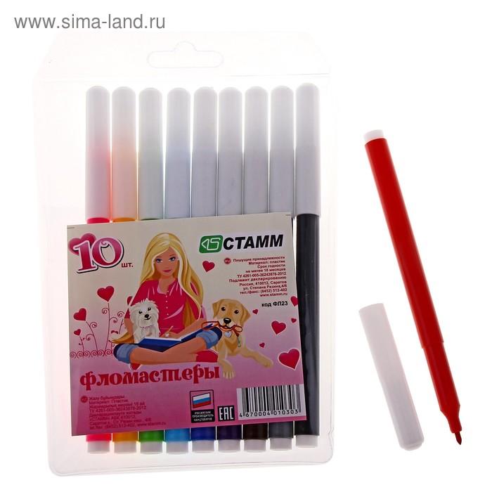 """Фломастеры 10 цветов """"Алиса"""", вентилируемый колпачок, длина линии письма более 400 м, европодвес"""