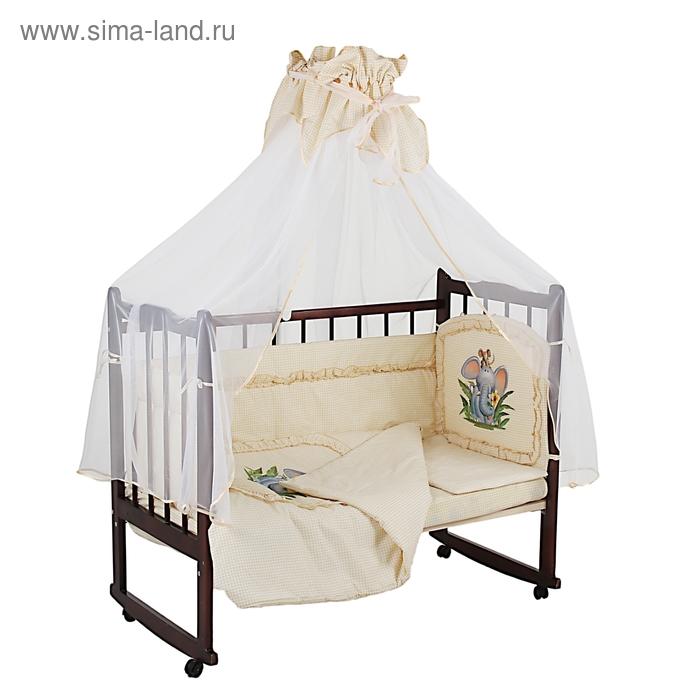 """Комплект в кроватку """"Алёнка"""", размер 120х60 см, 7 предметов, цвет жёлтый"""