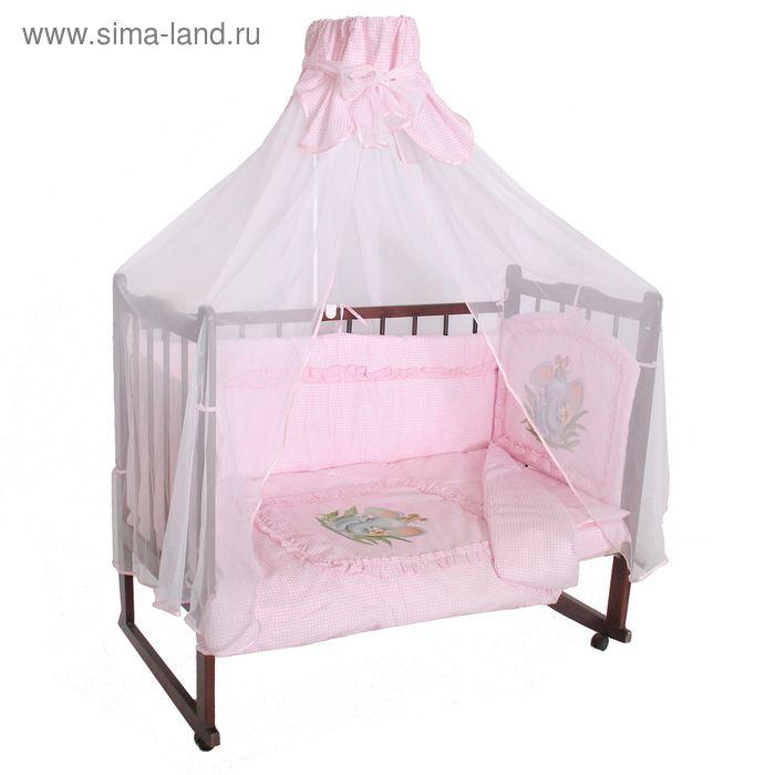 """Комплект в кроватку """"Аленка"""", 7 предметов, цвет розовый"""