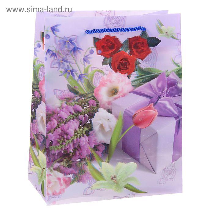 """Пакет пластиковый, 3D рисунок """"Букет цветов"""""""
