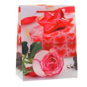 """Пакет пластиковый, 3D рисунок """"Белая роза"""""""