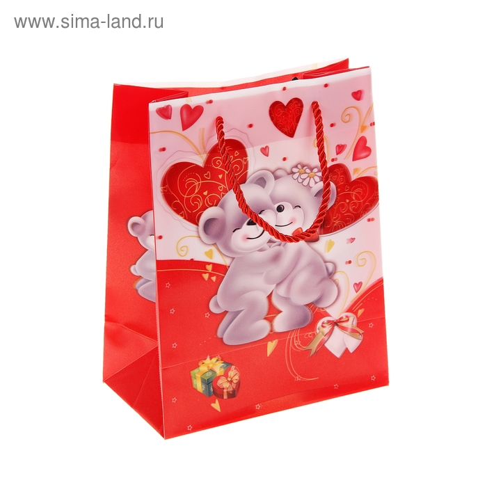 """Пакет пластиковый, 3D рисунок """"Мишки влюбленные"""""""