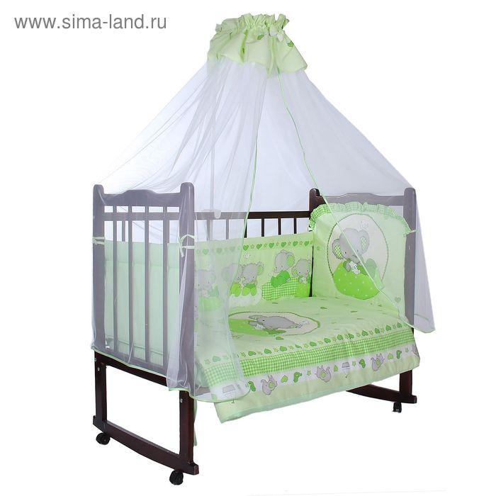 """Комплект в кроватку """"Слоник Боня"""", размер 120х60 см, 7 предметов, цвет зелёный"""