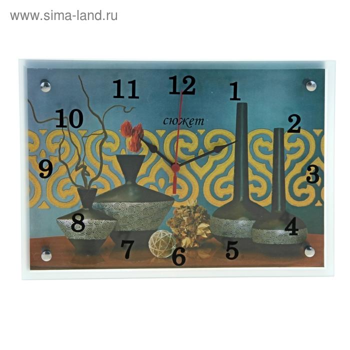 """Часы настенные прямоугольные """"Четыре вазы"""", 25х35 см"""
