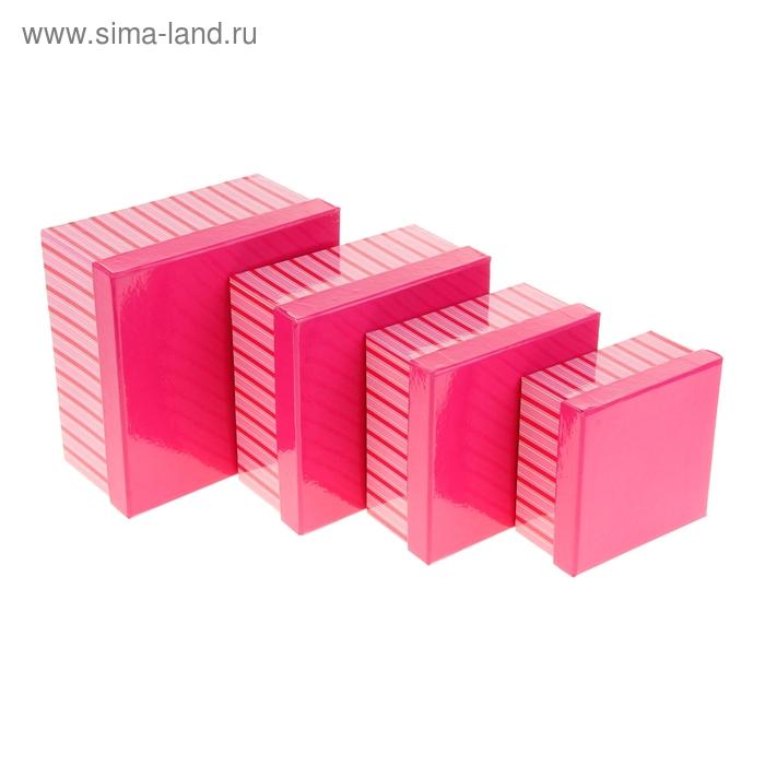 """Набор коробок 4в1 """"Полосатый рейс"""", цвет розовый"""