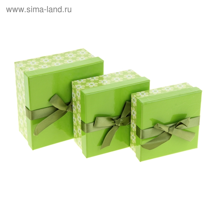 """Набор коробок 3в1 """"Цветочное настроение"""", цвет зелёный"""