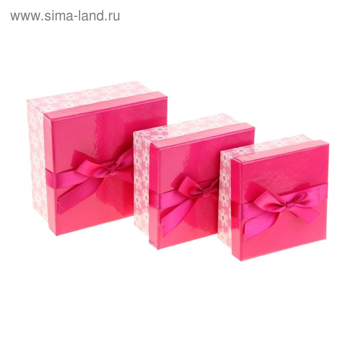 """Набор коробок 3в1 """"Цветочное настроение"""", цвет малиновый"""