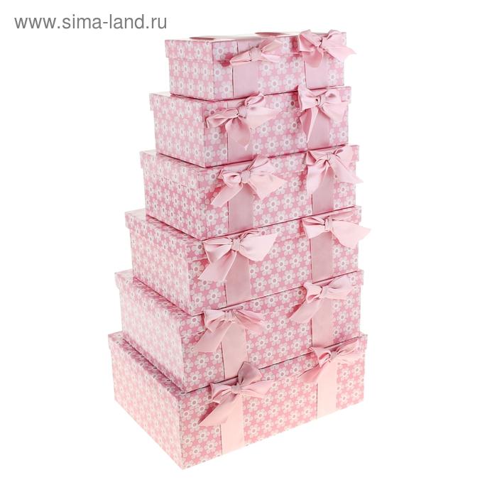 """Набор коробок 6в1 """"Ромашки"""", цвет розовый"""
