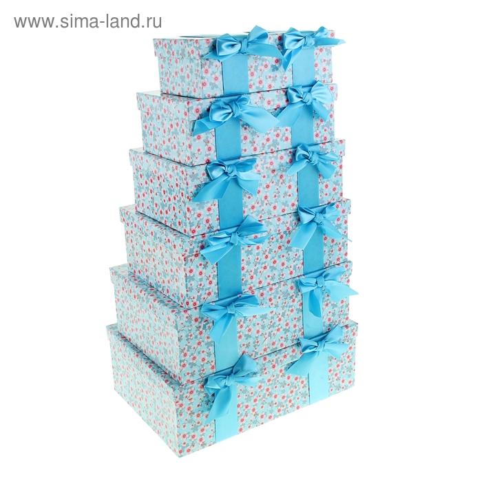 """Набор коробок 6в1 """"Сакура"""", цвет голубой"""