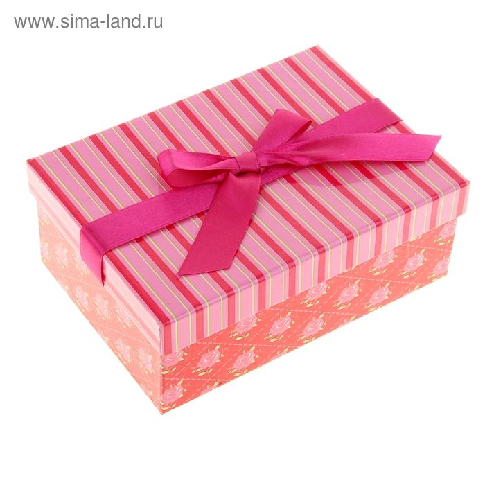 """Коробка подарочная """"Розы и полосочки"""", цвет розовый"""