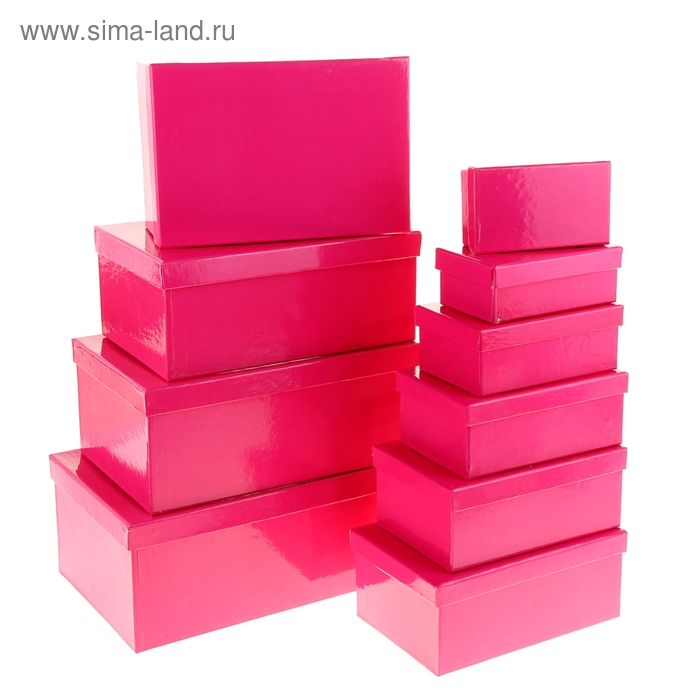 """Набор коробок 10в1 """"Классика"""", цвет малиновый"""