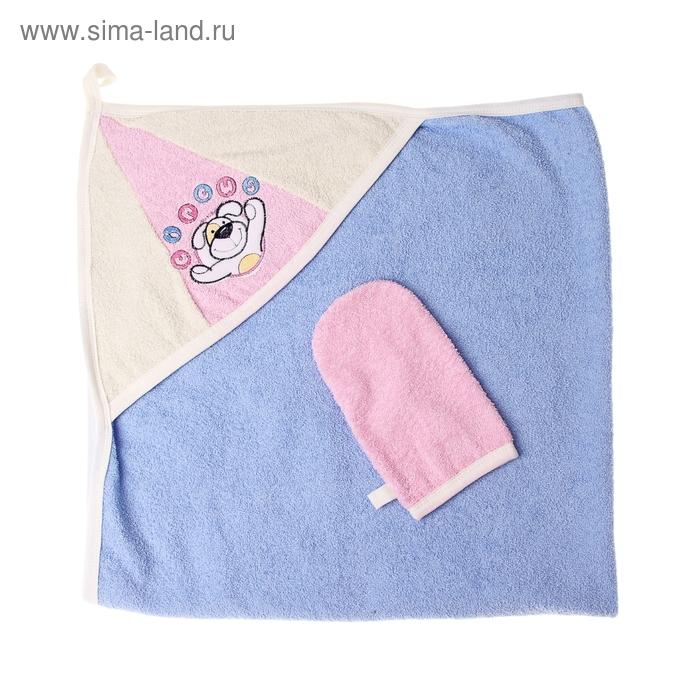 "Комплект: пелёнка+варежка ""Циркус"", размер 100х100 см, цвет голубой"