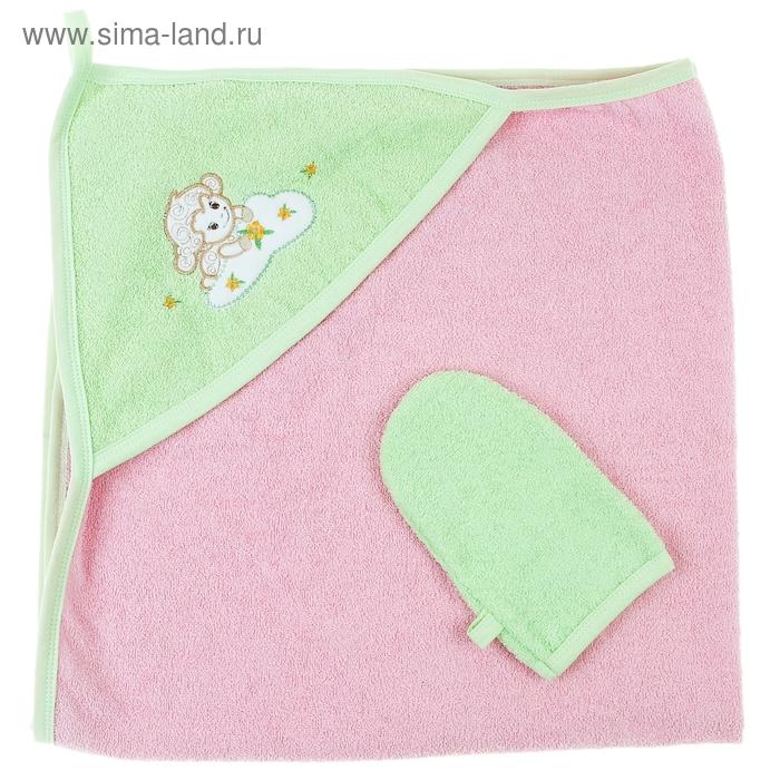 """Комплект: пелёнка+варежка """"Весёлые овечки"""", размер 100х100 см, цвет розовый"""