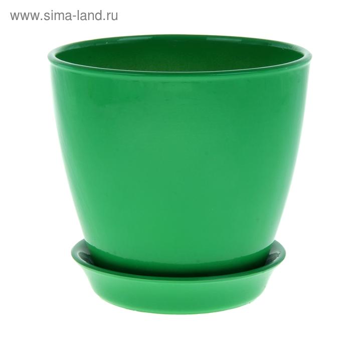 """Кашпо """"Виктория"""" глянец, зелёное, 2 л"""