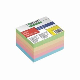 """Блок бумаги для записей на склейке 6*5*4см цветной """"Премиум"""""""