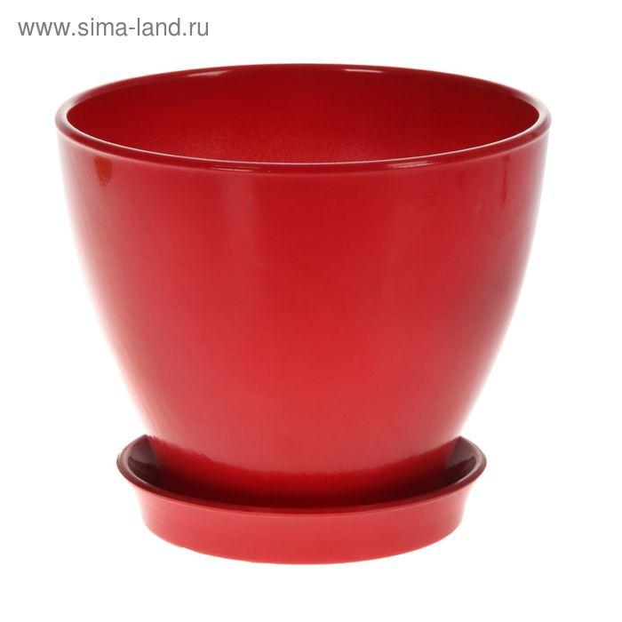 """Кашпо """"Ксения"""" глянец, красное, 3 л"""