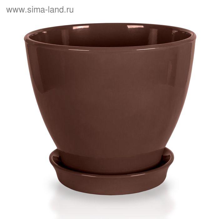 """Кашпо """"Ксения"""" глянец, шоколадное, 3 л"""