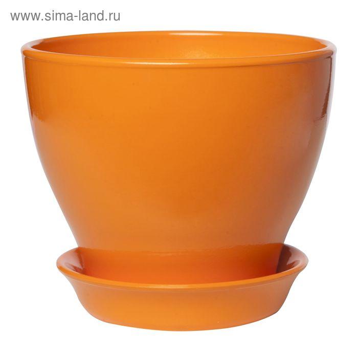 """Кашпо """"Ксения"""" глянец, оранжевое, 3 л"""