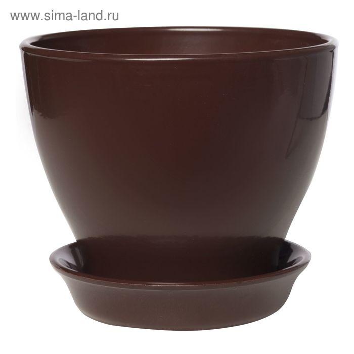"""Кашпо """"Ксения"""" глянец, шоколадное, 7,5 л"""
