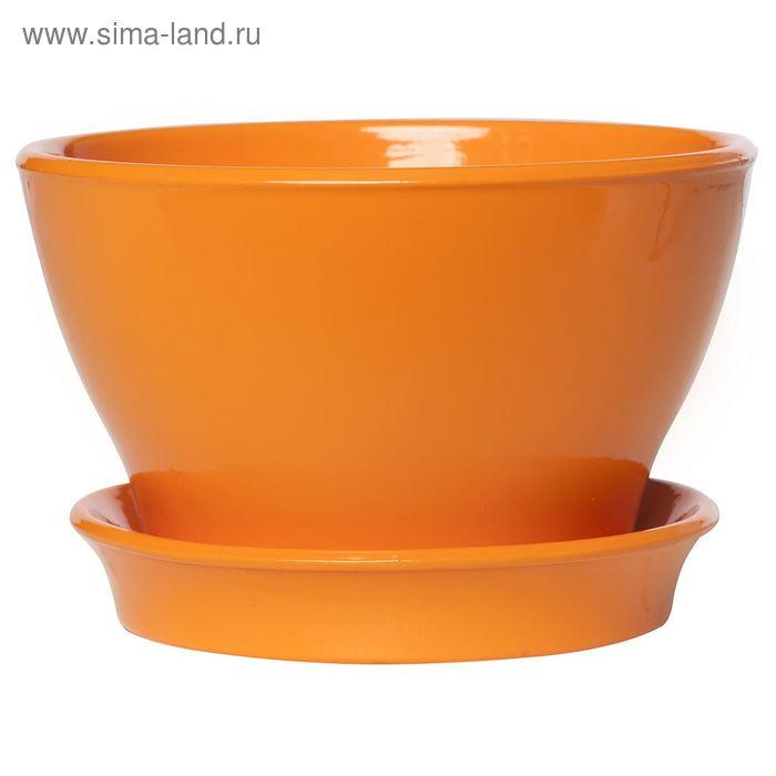 "Кашпо ""Ксения"" фиалочница, глянец, оранжевое, 1 л"