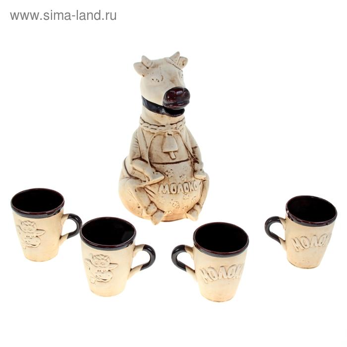 "Набор молочный ""Буренка"" шамот, 5 предметов, 1,5 л"