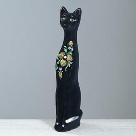 """Копилка """"Кот"""" средняя, флок, чёрная, ветка"""