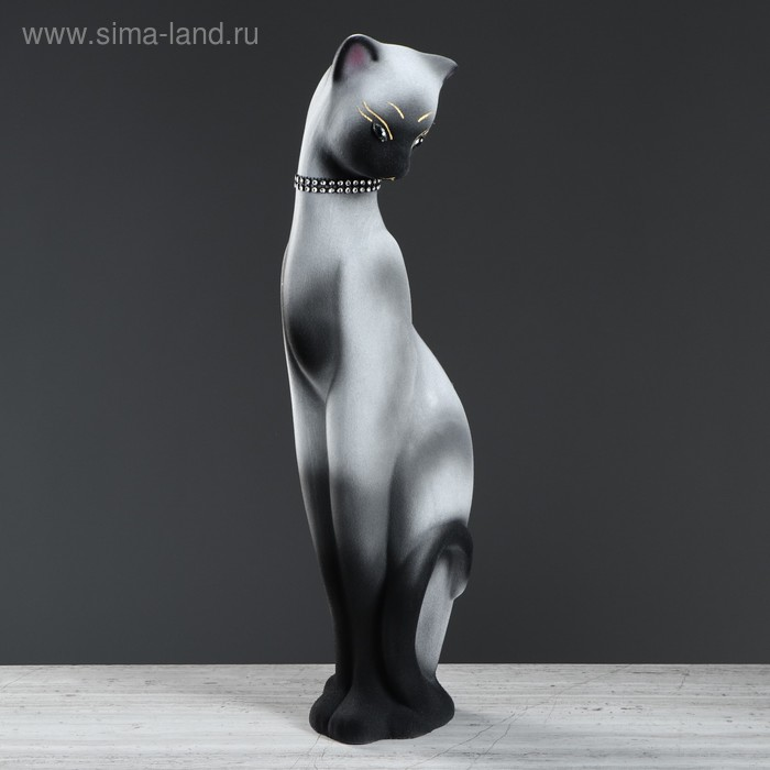"""Копилка """"Кошка Багира"""" флок, сиамская, серая"""