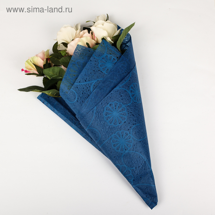 """Флизелин """"Ажурные цветы"""", цвет синий"""