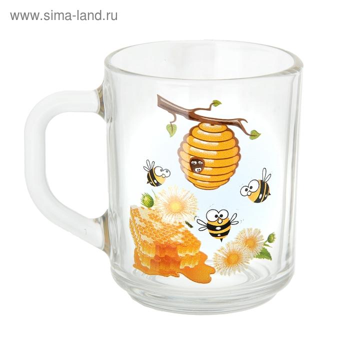 """Кружка стеклянная 200 мл """"Медовая"""""""